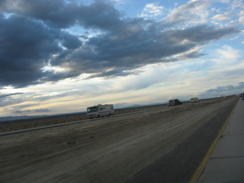 Trucks on the I-5, Central Valley, California