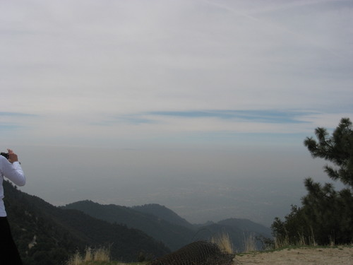 View from the Angeles Crest highway, looking toward Los Angeles. Smoke from fires.