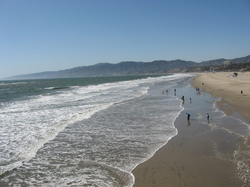 Santa Monica beach looking north from the Pier