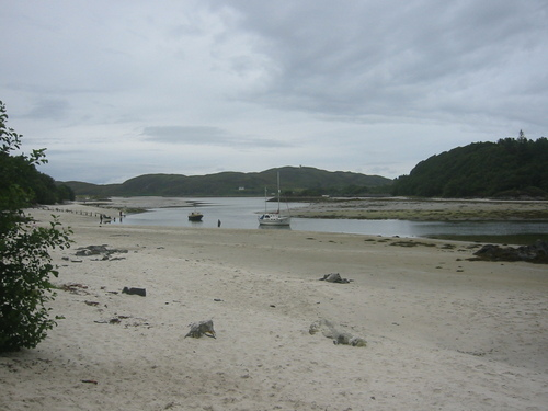 Beach near Arisaig with boats