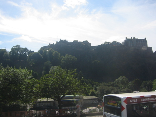 Edinburgh castle from the double-decker bus