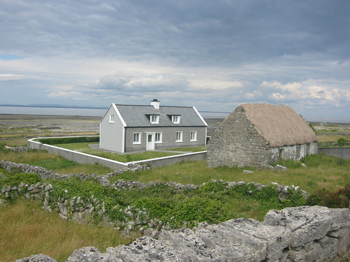 Inishmore, Aran Isles: the new house and the old house