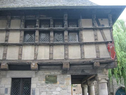 Closeup of half-timbered house in Dinan, Brittany