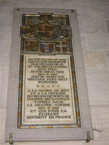 Monument to British dead in France, World War I, Bayeux Cathedral