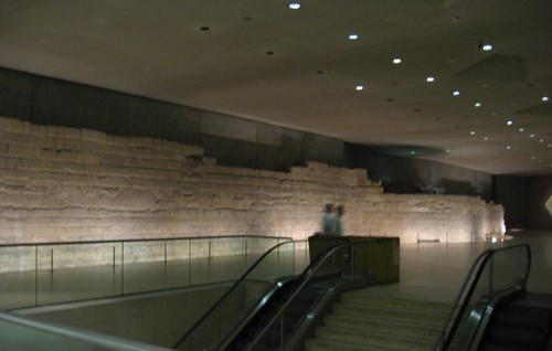 The fortress walls of the medieval Louvre can be seen under the museum