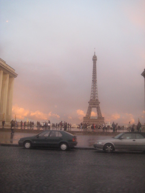 Eiffel Tower sunset, from the taxi