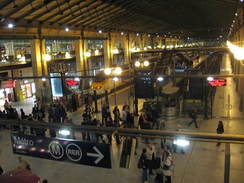 The arrival of the Eurostar at the Gare du Nord