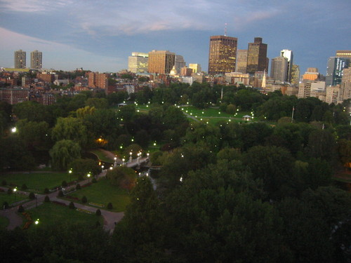 Boston Public Garden, downtown, and Beacon Hill at night