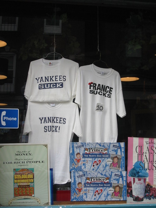 """France Sucks"" t-shirt in a Boston window"